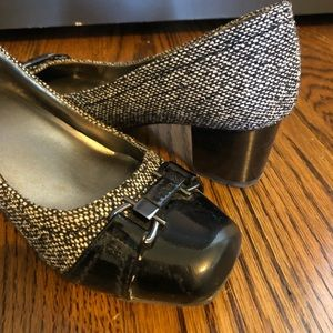 Me Too Low Heeled Tweed Shoes with Buckle Size 6
